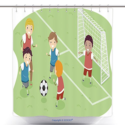 Polyester Shower Curtains Stickman Illustration Featuring A Group Of Boys Playing Soccer 150608090 Polyester Bathroom Shower Curtain Set With Hooks by
