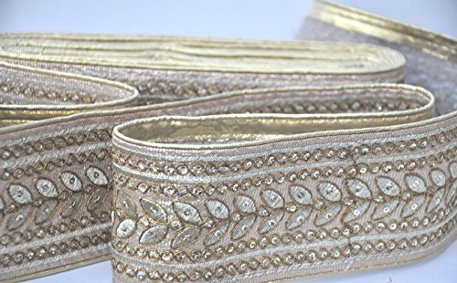 (2 yards Wide Designer Golden Paisley Design Trim Supplies Sequins Bedded Saree Border Lace Material By The Yard Bollywood Inspired, Wide Trim Lace)
