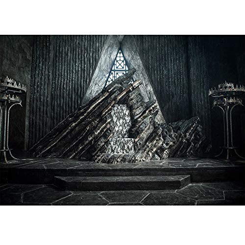 (Game of Thrones Iron Throne Backdrop 7x5ft Black Marble Floor Leature Chair Background for Photography Happy Birthday Backdrops for Adult Customized Baby Shower)