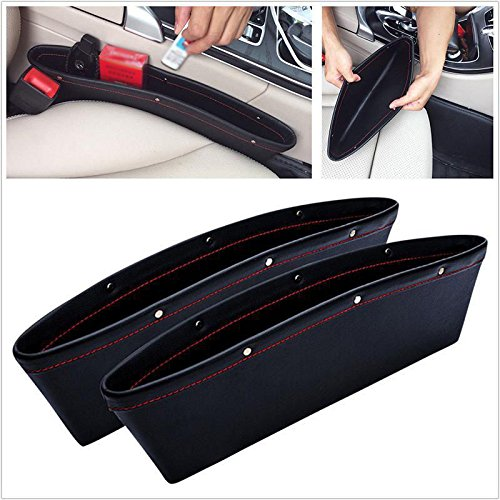 Price comparison product image Marketworldcup -PU Leather Vehicle Car Seat Gap Slit Pocket Catcher Organizer Caddy Storage Box