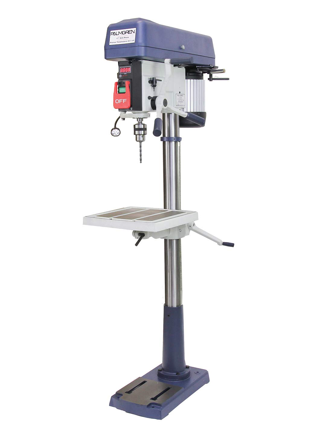 Palmgren 9680177 Heavy Duty 16-Speed Floor Step Pulley Drill Press, 17'' Swing, 1 hp, 120/240V, 1 Phase
