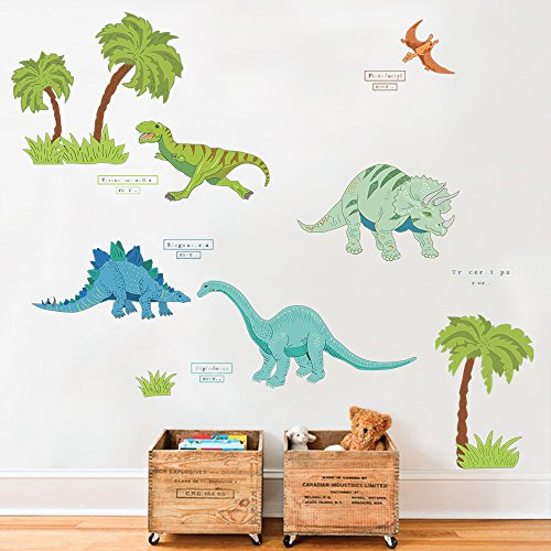 DecalMile Dinosaur Jungle Wall Stickers Removable Vinyl Wall Decals Murals For Kids Children's Bed Room Living Room Baby Nursery Room (Dinosaurs Vinyl)