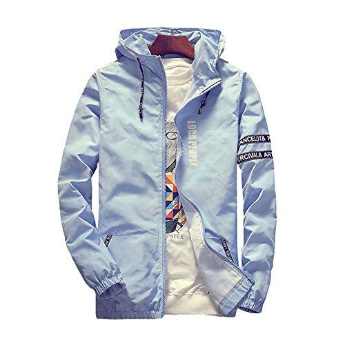 Uomo Azzurro Con Impermeabile Giacca A Chiusura Cappuccio Casual Zip PBzPqUrRw