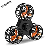 TCCSTAR Flying Spinner, Finger Fidget Spinner - Anti-Anxiety ADHD Relieving Reducer, USB Rechargable,Best Interactive Family Toys Games Kids Adults (Black)