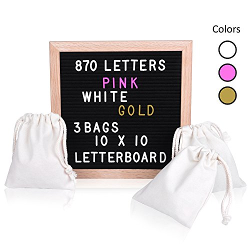 Vintage Black Felt Changeable Letter Board 10x10. 1,086 Plastic Letters & Emojis. 3 Colors, GOLD-PINK-WHITE. Hang Retrogram Wooden Sign or Display. Changable Messages with 3 Canvas Bags -