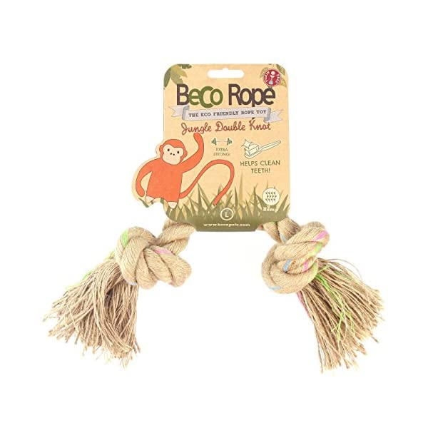 Beco Pets Rope – Natural Hemp Strong and Durable Tug Rope Toy for Dogs – L – Double Knot, multicoloured