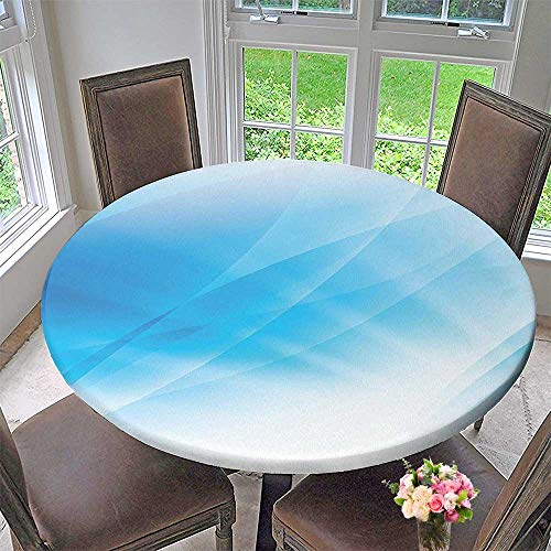 Round Polyester Tablecloth Table Cover Blue Light Wave Ocean Themed Modern Graphic Cool Design Artwork White and Light for Most Home Decor 50