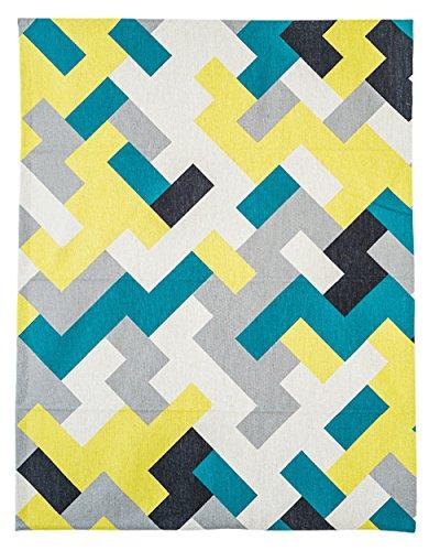 KARUILU home Quick Fix Washable Roman Window Shades Flat Fold, Geometric Color Pattern (32W x 63H, Ocean) by KARUILU home (Image #1)