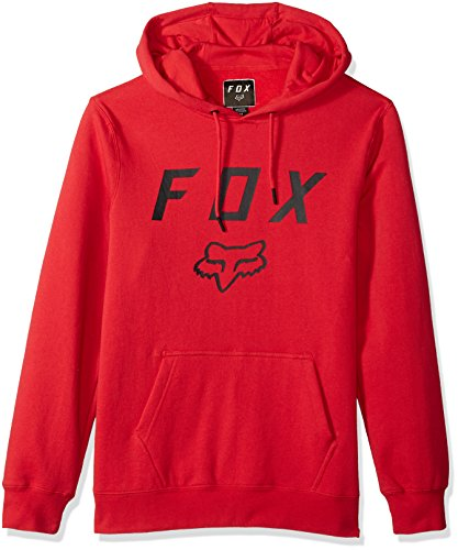 Fox Men's Standard Fit Legacy Logo Pullover Hooded Sweatshirt, Dark Red, - Jackets Bike Street Men