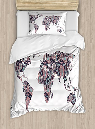 Ambesonne Floral World Map Duvet Cover Set Twin Size, Paisley Leaves Ornamental Eastern Style Old Fashioned Design, Decorative 2 Piece Bedding Set with 1 Pillow Sham, Plum Coral (Old World Paisley)