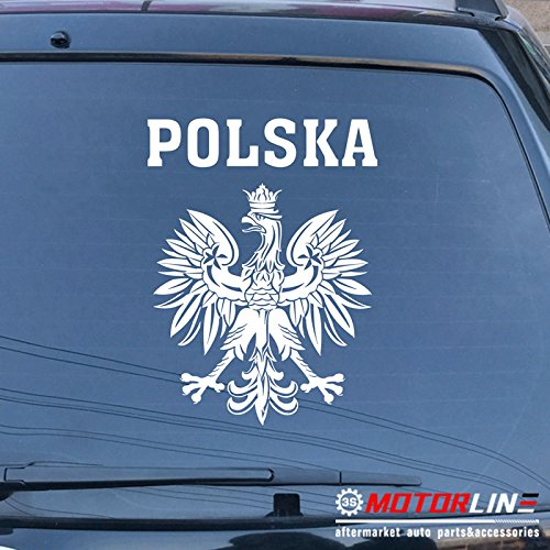 - 3S MOTORLINE Polska Polish Eagle Coat of arms of Poland Polski Decal Sticker Car Vinyl pick color size (white, 28'' (71.1cm))