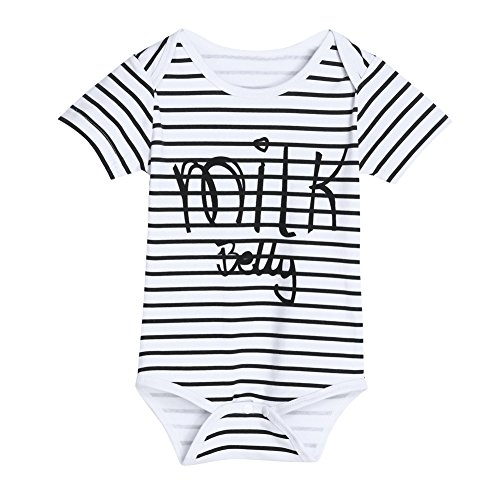 15.6' Suit - Diamondo Baby Infant Boys Girls Striped Tops Rompers Letter Print Bodysuit Jumpsuit (100) (70)