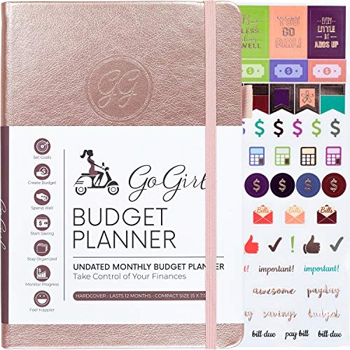 "GoGirl Budget Planner - Monthly Financial Planner Organizer Budget Book. Expense Tracker Notebook Journal to Control Your Money. Undated - Start Any Time, 5.3"" x 7.7"", Lasts 1 Year - Rose Gold"