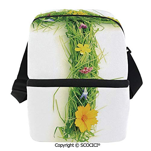 SCOCICI Thermal Insulation Bag Capital Letter from Flowers Grass Image Alphabet Font Design Spring Vibes Print Decorative Lunch Bag Organizer for Women Men Girls Work School Office Outdoor