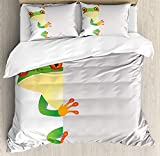 IDOWMAT Reptiles Twin Duvet Cover Sets 4 Piece Bedding Set Bedspread with 2 Pillow Sham, Flat Sheet for Adult/Kids/Teens, Funky Frog Prince with Big Eyes on The Wall Camouflage Nursery Reptiles Decor