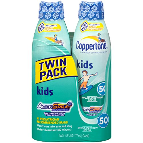 Coppertone Kids Continuous Spray SPF 50 , 6 Ounces (Twin Pack) ()