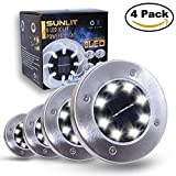 Sunlit Disk Solar Lights 8 LEDs | Waterproof Solar Ground Lights Dark Sensing Landscape Lights for Lawn Pathway Yard Driveway Patio Walkway | 4 Pack (Warm White)
