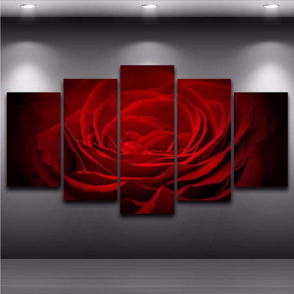 zxfcczxf Sin Marco Pintura Wall Art Modular HD Decoración del Hogar Moderno Salón Impreso Lona 5 Panel Rosa Roja Flores Cuadros Marco del cartel-40x60cm*2/40x80cm*2/40x100cm*1