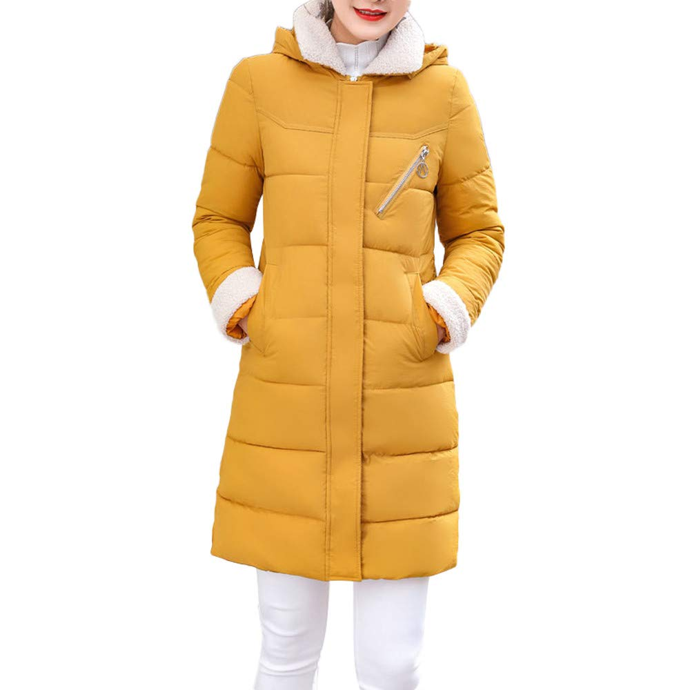 Dainzuy Ladies Sexy Casual Coat,Women Hooded Thick Slim Jacket Long Overcoat