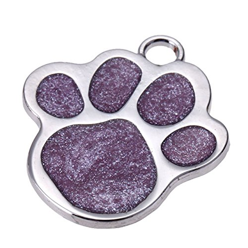 Embiofuels(TM) Personalized Pet Dog Tag Glitter Custom Engraved Feet Card Dogs Cat ID Tags Collar Pendants Pet Dog Products[ Purple ] ()