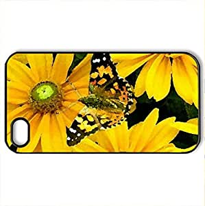 Alite on gold - Case Cover for iPhone 4 and 4s (Butterflies Series, Watercolor style, Black)