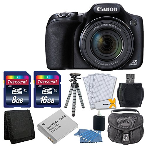 Canon PowerShot SX530 HS Digital Camera with 50x Optical Image Stabilized Zoom with 3-Inch LCD HD 1080p Video (Black)+ Extra Battery + 24GB Class 10 Card Complete Deluxe Accessory Bundle And Much More (Cannon 16 Mp Camera)
