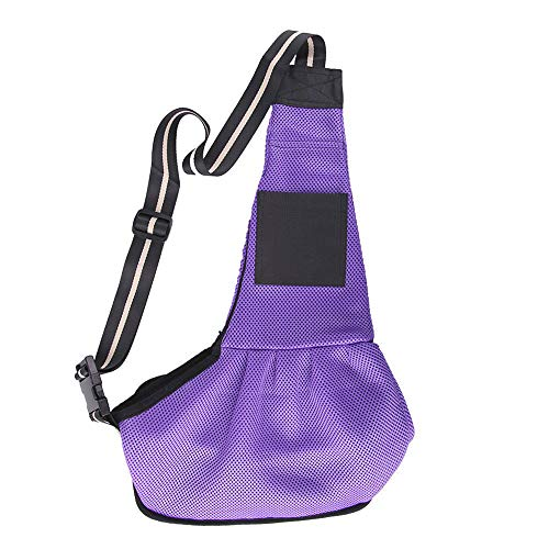 (Khantho Bag Pet Shoulder Sling Strap Animal Casual Small Dog Cat Puppy Pug Dachshund Messenger Comfort Carrier Travel Tote Outside Backpack Outdoor Single Purse Pouch Oxford (S, Purple))