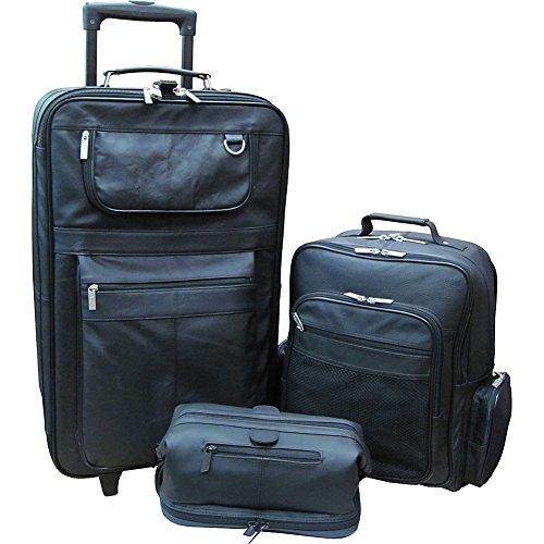 AmeriLeather Traveler 3-Piece Black Luggage Set (Black)