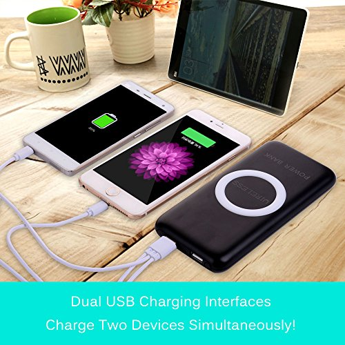 Qi wi-fi power Bank Cloele high Capacity 12000 Mah transportable power Bank and wi-fi Charger External Battery Pack 2 in 1 by would mean of  two times swiftly Charging Port For IPhone 8 Galaxy Note 8 And far more Black Wall Chargers