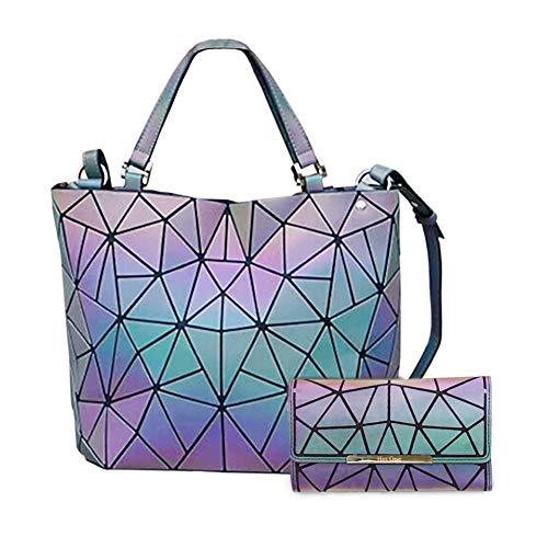 HotOne Geometric Luminous Purses and Handbags Shard Lattice Eco-Friendly Leather Rainbow Holographic Purse (Luminous Large+Wallet Set)