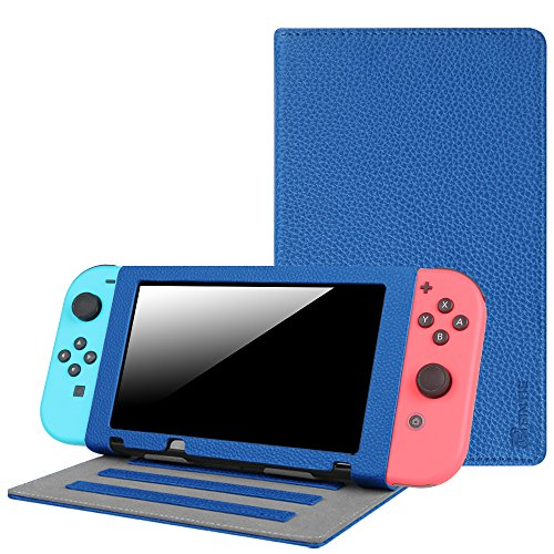 Fintie Nintendo Switch Case - Premium PU Leather Multiple Angle Stand [with Game Cartridge Holders] Protective Cover for Nintendo Switch 2017 - Royal Blue (Stand Leather)