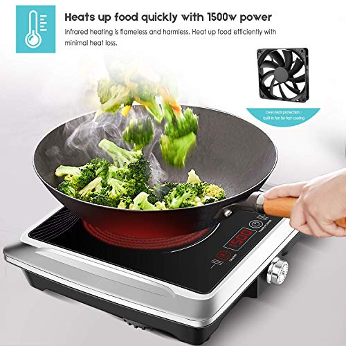 Techwood Hot Plate Electric Burner Portable Single Burner Infrared Cooktop 1500W with Adjustable Temperature Control Non-Slip Rubber Feet Easy To Clean Electric Ceramic Hot Plate ES-3105 by Techwood (Image #1)