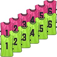 Explopur Practice Sports Vest, 12 PCS Adults Soccer Pinnies 2 Colors Quick Drying Football Team Jerseys Youth
