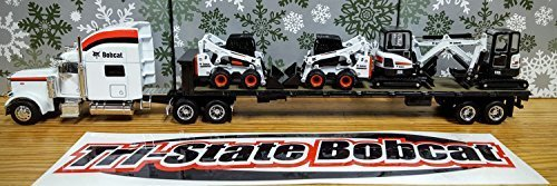 (Peterbilt Model 379 Tractor with Flatbed Trailer and 4 Pieces Bobcat Equipment 1/50 by Norscot 25101 by Bobcat)