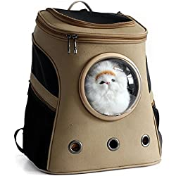YAAGLE Outdoor Pet Carriers Canvas Bag Shoulder Bag Backpack With Breathable Acrylic Semisphere for Dog Cat Puppy