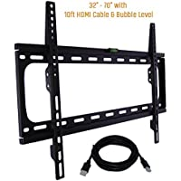 Koramzi Fixed TV Wall Mount Bracket Fits 32-70 TVs 600x400 VESA Low Profile Ultra Slim including Bubble Level & 10ft. HDMI Cable Life Time Warranty-(Black)- KWM988F