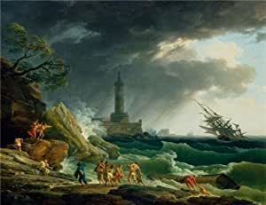 Linen Canvas ,the Reproductions Art Decorative Canvas Prints of oil painting 'Storm on a Mediterranean Coast,1767 By Claude-Joseph Vernet', 30x39 inch / 76x99 cm is best for Nursery decor and Home artwork and Gifts