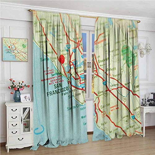 GUUVOR Map Shading Insulated Curtain Vintage Map of San Francisco Bay Area with Red Pin City Travel Location Soundproof Shade W96 x L84 Inch Pale Blue Pale Green Red (Best Wedding Locations Bay Area)