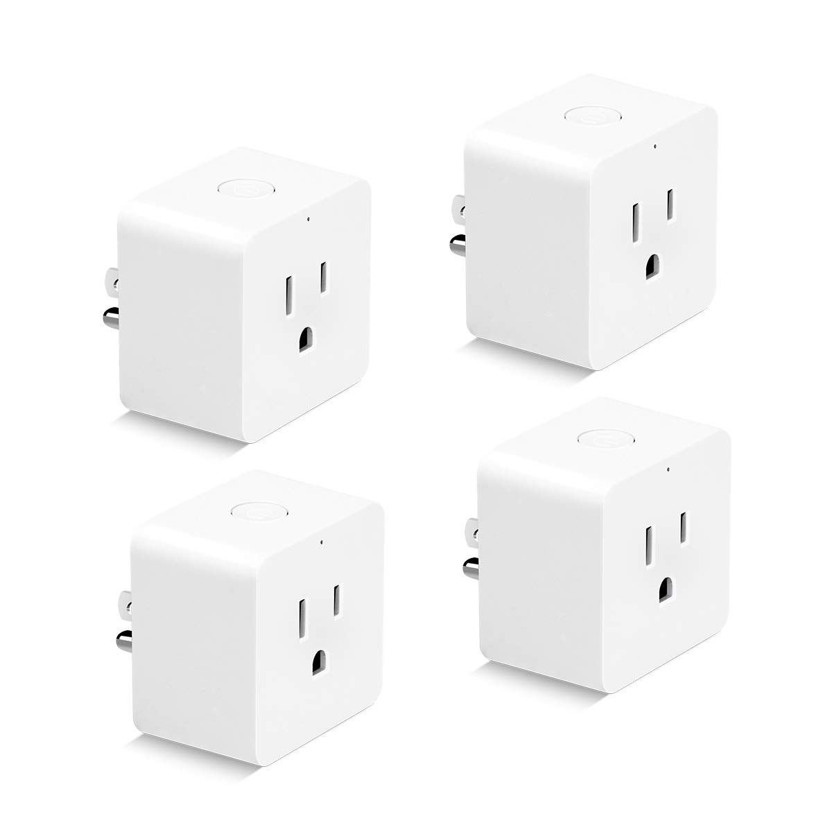 Wifi Plug Outlet Timer Control from Anywhere with Timing Function, HLT Mini Smart Plug Competible with Amazon Alexa Google Assistant (4 Pack-Square)