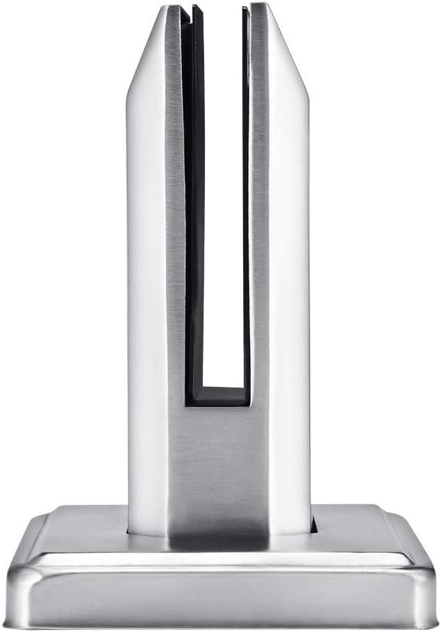 ACELEY Poste de panel de vidrio de acero inoxidable, abrazadera para valla de piscina, abrazadera para cercado de balcón, poste de balaustrada con espita redonda, soporte, montado en el piso