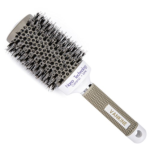 Price comparison product image VANKINE Nano Technology Ceramic & lonic Round Barrel Hair Brush with Natural Boar Bristle for Blow Drying,  Curling,  Styling,  Straightening (2 inch) (2 inch)