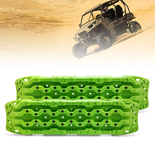 FieryRed Traction Tracks - 2 Pcs Traction Mat Recovery for Sand Mud Snow Track Tire Ladder 4X4 - Traction Boards, Green.