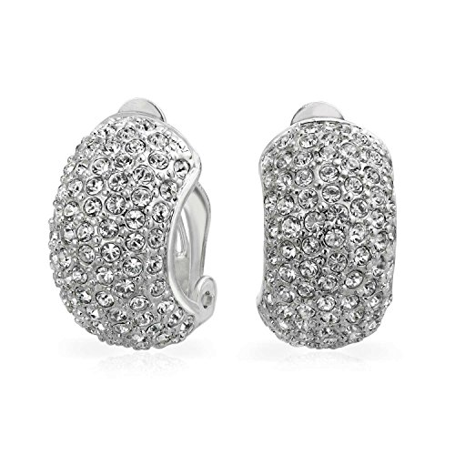 - Bridal Prom Pave Crystal Wide Dome Half Hoop Clip On Earrings For Women Non Pierced Ears Silver Tone Silver Plated Brass