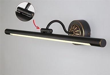 Spiegelleuchte Schwarz Spiegel Warmwei/ß Spiegellampe Aus Kupfer Wasserdicht Anti-Fog Wand Lampe Licht Schwenkbar 240/º Bad R/öhre Leuchte Runde Drehbar Spiegellicht Schminklicht Vintage 43CM