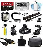 Bundle for GoPro Hero4 Hero3+ Hero3 Hero2 Camera with 64GB Card - LED Light - Handgrip - Selfie Pole - Handlebar Mount - Helmet Strap - Car Mount - Premium Case - HDMI Cable - Floating Handle - Cleaning Kit
