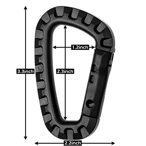 6X Plastic Black 80mm D-ring Carabiner Hanging Hook Clip for Backpack Outdoors