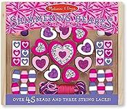 MELISSA & DOUG Shimmering Hearts Wooden Bead Set,