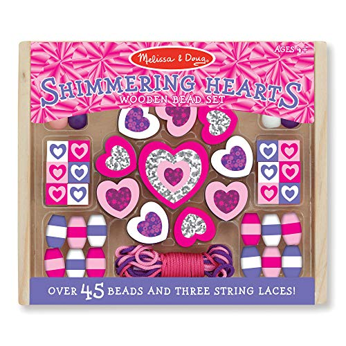 Melissa & Doug Shimmering Hearts Wooden Bead Set (Jewelry-Making Kit, 45+ Beads, 3 String Laces)