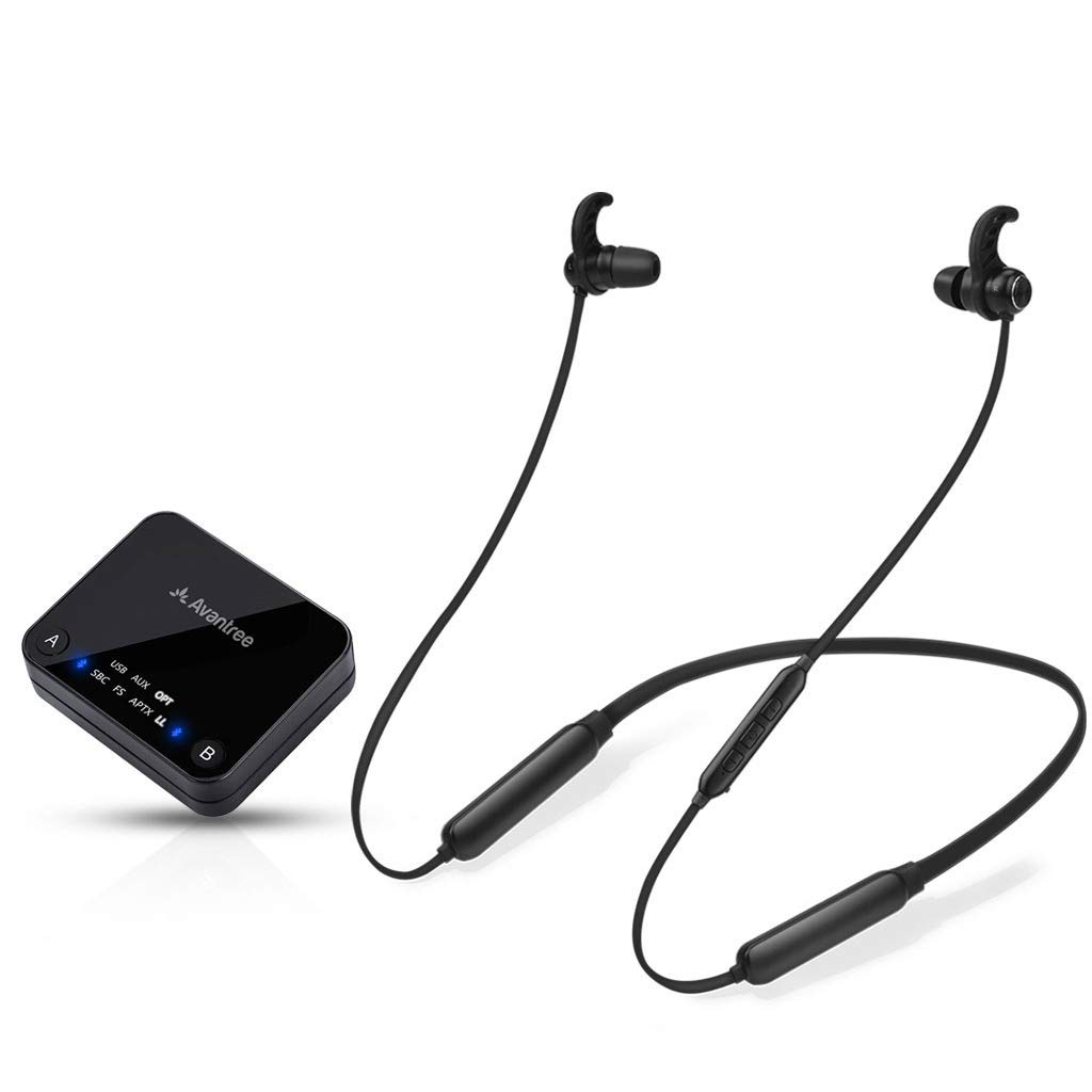 Avantree HT4186 Wireless Headphones Earbuds for TV Watching, Neckband Earphones Hearing Set w/ Bluetooth Transmitter for OPTICAL Digital Audio, RCA, 3.5mm Aux Ported TVs,  PLUG n PLAY, No Audio Delay by Avantree