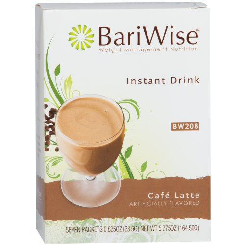 BariWise High Protein Drink Mix/Instant Low-Carb Hot Drink - Cafe Latte (7 Servings/Box) - Low Calorie, Low Carb, Fat Free, Gluten Free